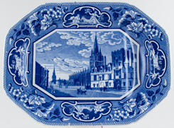 Ridgway Oxford and Cambridge College Series Meat Dish or Platter tree & well All Souls College c1825