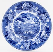 Wedgwood Blue Rose Border Plate c1830