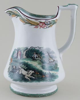Elsmore and Forster Unidentified Pattern green with colour Jug puzzle c1860