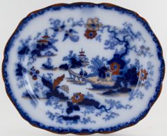 Unattributed Maker Oriental Garden blue with colour Meat Dish or Platter c1840
