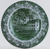 Masons Queens' College Cambridge green Soup Plate c1855