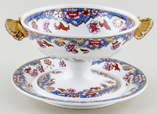 Spode Number 3091 blue with colour Cream Bowl and Stand c1821