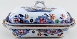 Spode Number 3701 blue with colour Covered Dish three part c1823