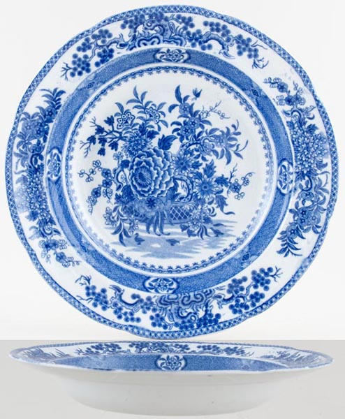 Bathwell and Goodfellow Basket of Flowers Soup Plate c1820