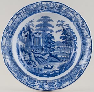 Leeds Pottery Scene After Claude Lorraine Soup Plate c1820