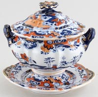 Masons Zig Zag Wall colour Sauce Tureen c1835