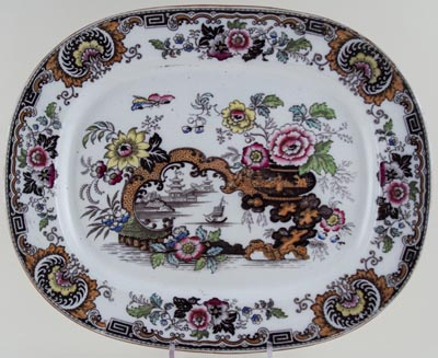 Bell Japan colour Meat Dish or Platter c1850