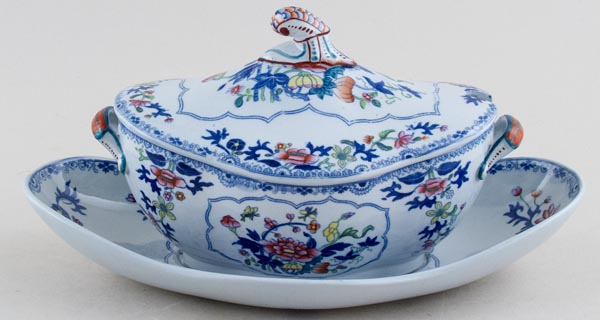 Spode Bang Up blue with colour Dessert Tureen with Stand c1820