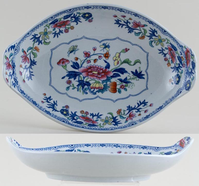 Spode Bang Up blue with colour Dish dessert c1820