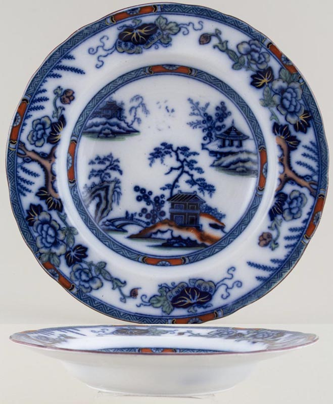 Meigh Hong Kong colour Soup Plate c1845