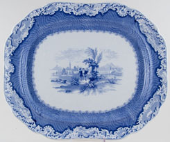South Wales Pottery Damask Border Meat Dish or Platter c1845