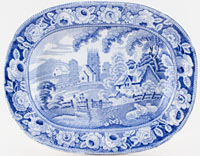 Unattributed Maker Village Church Meat Dish or Platter small c1830