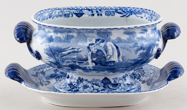 Bathwell and Goodfellow Rural Scenery Series Sauce Tureen & Stand Two Boys by Pool c1820