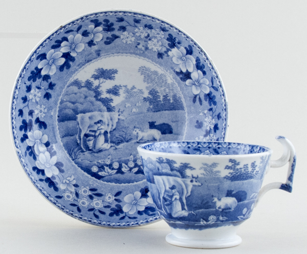 Spode Milkmaid Coffee Cup and Saucer c1840