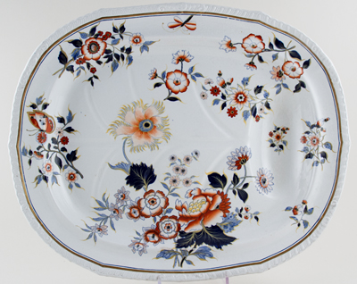 Dimmock Japan Groups colour Meat Dish or Platter with Tree and Well c1840