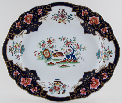 Chamberlains Unidentified Pattern colour Meat Dish or Platter c1848