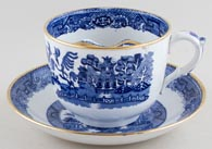 Meir Willow Moustache Cup and Saucer jumbo c1895