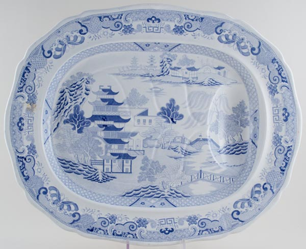 Unattributed Maker Two Temples Meat Dish or Platter with Tree & Well c1830