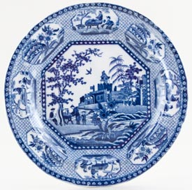 Unattributed Maker Octagonal Chinoiserie Plate c1820