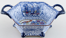 Adams Chinese Bird blue with colour Basket hexagonal c1920s