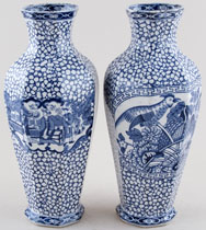 Adams Chinese Bird Vases pair of c1930s