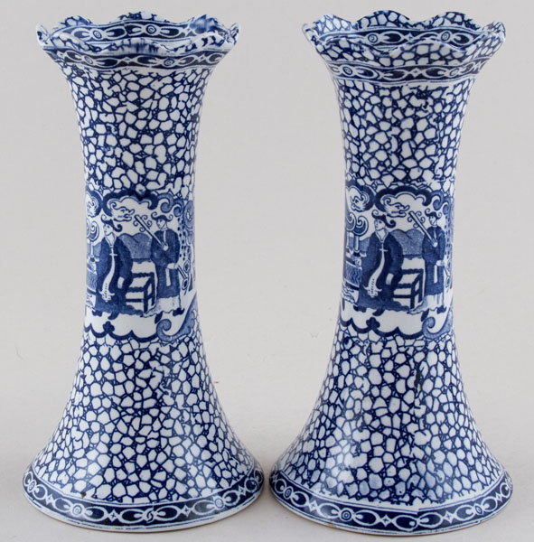 Adams Chinese Bird Pair of Vases c1930s