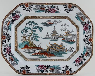 Adams Shanghai black with colour Meat Dish or Platter c1915