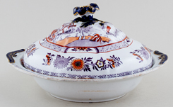 Ashworth Canton plum with colour Covered Dish c1865