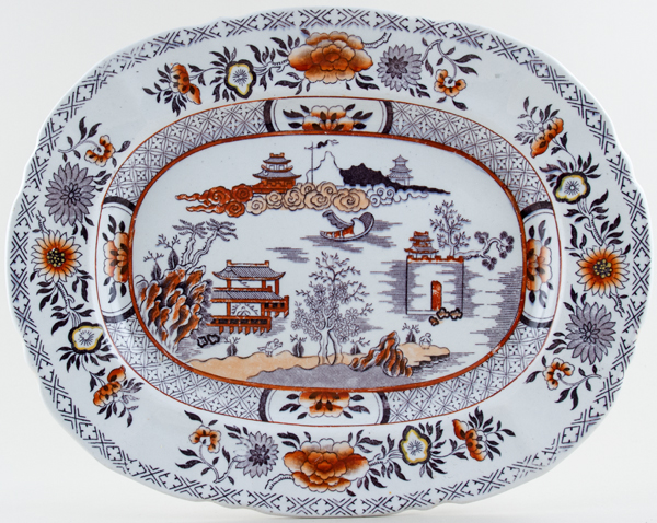 Ashworth Canton plum with colour Meat Dish or Platter c1865
