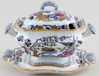 Ashworth Flying Bird colour Sauce Tureen c1895