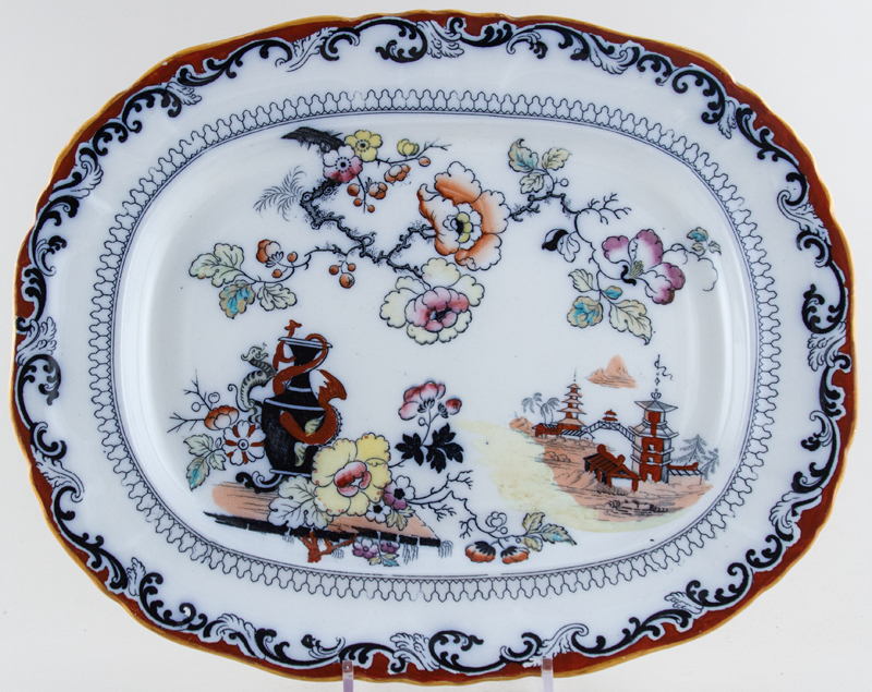Ashworth Vase and Dragon colour Meat Dish or Platter c1907