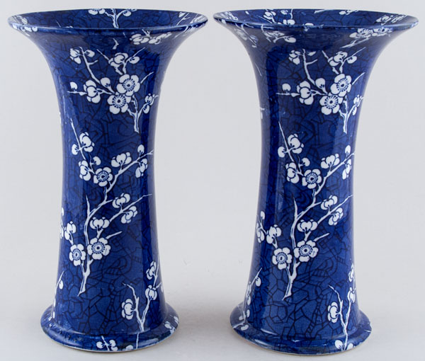Ashworth Prunus Vases pair of large c1900