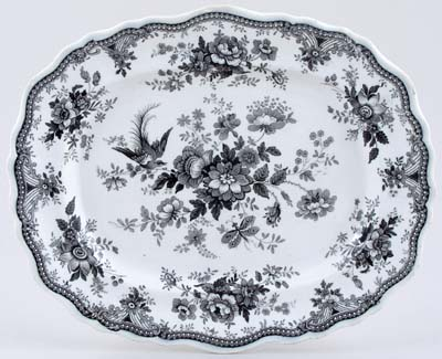 Hall Asiatic Pheasants black Meat Dish or Platter c1830