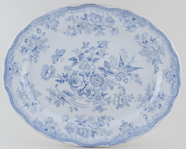 Burgess and Leigh Asiatic Pheasants Meat Dish or Platter c1880
