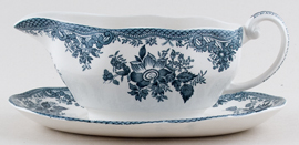 Wedgwood and Co Asiatic Pheasants green Sauce Boat and Stand c1970