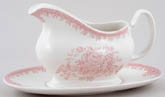 Burleigh Asiatic Pheasants pink Sauce Boat with Stand