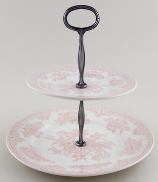 Burleigh Asiatic Pheasants pink Cake Stand 2 tier in Gift Box