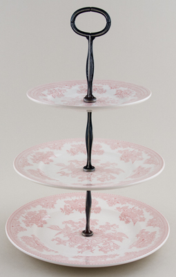 Burleigh Asiatic Pheasants pink Cake Stand 3 tier in Gift Box