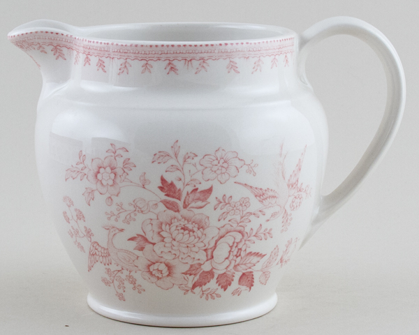 Burleigh Asiatic Pheasants pink Jug or Pitcher Dutch large