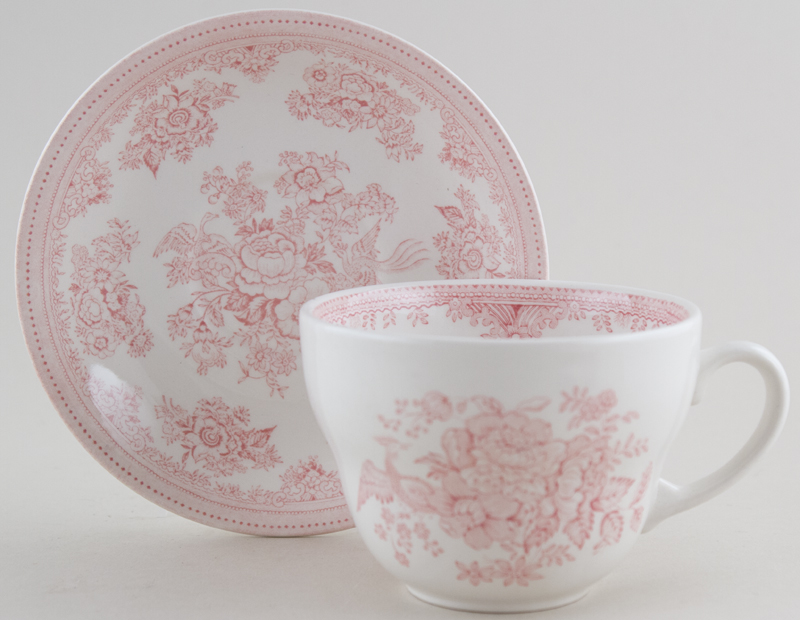 Burleigh Asiatic Pheasants pink Breakfast Cup and Saucer