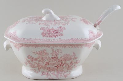 Burleigh Asiatic Pheasants pink Soup Tureen with Ladle