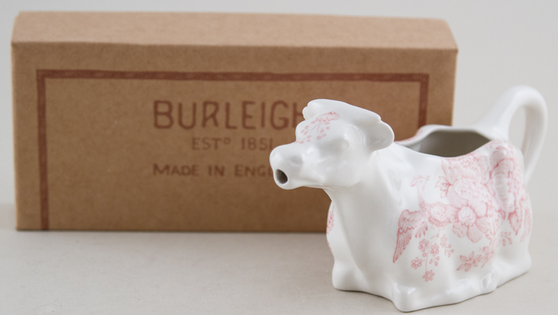 Burleigh Asiatic Pheasants pink Cow Creamer Boxed