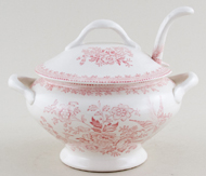Burleigh Asiatic Pheasants pink Sauce Tureen with Ladle