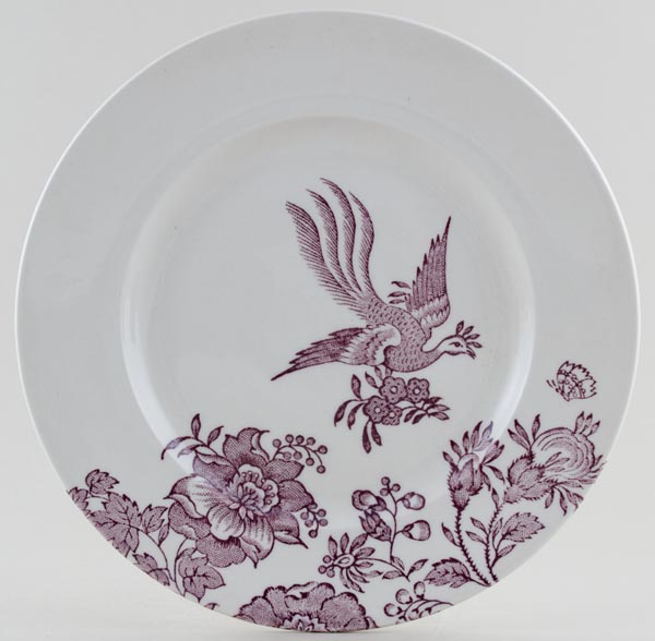 Burleigh Asiatic Pheasants plum Dinner Plate Accent
