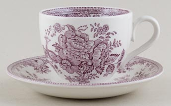 Burleigh Asiatic Pheasants plum Teacup and Saucer