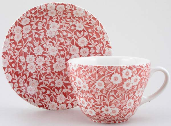 Burleigh Calico pink Breakfast Cup and Saucer