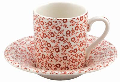 Burleigh Felicity red Cup and Saucer Espresso
