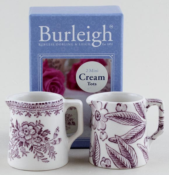 Burleigh Asiatic Pheasants and Prunus plum Cream Tots Boxed set of 2
