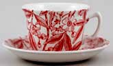 Burleigh Prunus red Teacup and Saucer