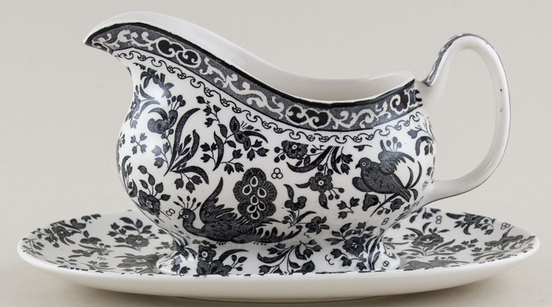 Burleigh Regal Peacock black Sauce Boat with Stand